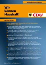 Haushalt und Finanzen - CDU Dortmund