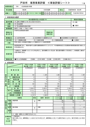 戸田市 事務事業評価 ≪事後評価シート≫