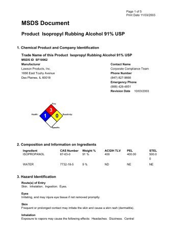 Material Safety Data Sheet 99 Isopropyl Alcohol Date 61