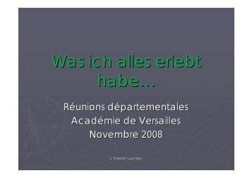 PDF du Powerpoint « Was ich alles erlebt habe - Site allemand de l ...