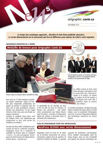 Newsletter – septembre 2010 - Artgraphic Cavin SA