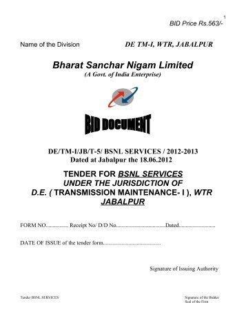 DE/TM-I/JB/T-5/ BSNL SERVICES / 2012-2013 Dated ... - WTR - Bsnl