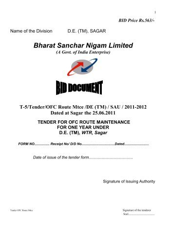 T-5/Tender/OFC Route Mtce /DE (TM) - WTR - BSNL