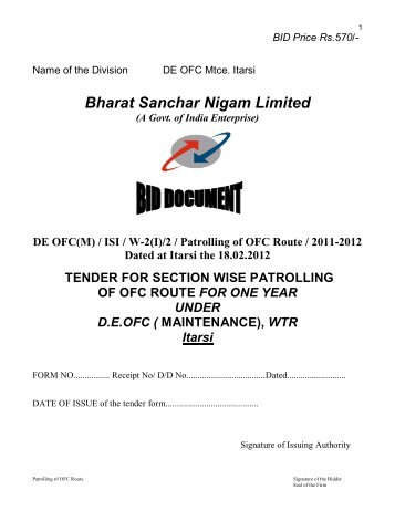 ISI / W-2(I)/2 / Patrolling of OFC Route / 2011-2012 Dated ... - wtr - Bsnl