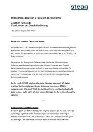 Bilanzpressegespräch STEAG am 28. März 2012 Joachim Rumstadt ...