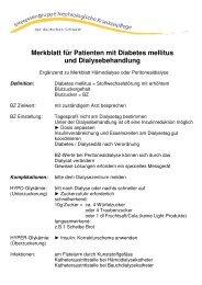 Merkblatt für Patienten mit Diabetes mellitus und Dialysebehandlung