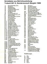 Schaltplan aus Betriebsanleitung Trabant 601 X, Sonderwunsch ...