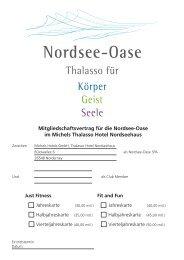 Mitgliedschaftsvertrag für die Nordsee-Oase im Michels Thalasso ...