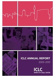 ICLC Annual Report 2009 – 2010 - Inner City Legal Centre