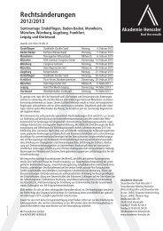 Rechtsänderungen 2012/2013 - Akademie Henssler