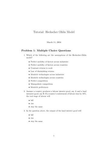 the heckscher ohlin model How can the answer be improved.