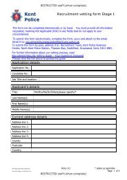 Recruitment vetting form Stage 1 - Kent Police