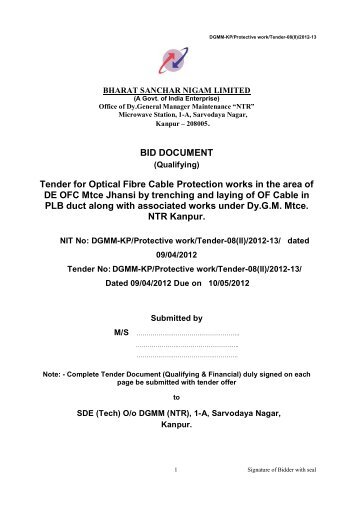 Tender for Optical Fibre Cable Protection works in - Northern ...