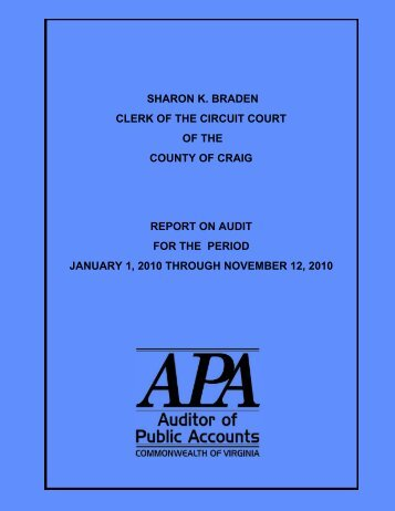 Clerk of the Circuit Court of the County of Craig for the period ...