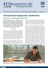 Ecoreporter.de-Anlagecheck: Studienfonds