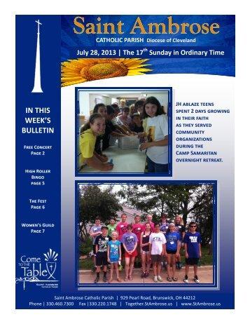 17th Sunday of Ordinary Time July 21, 2013 - St. Ambrose Catholic ...