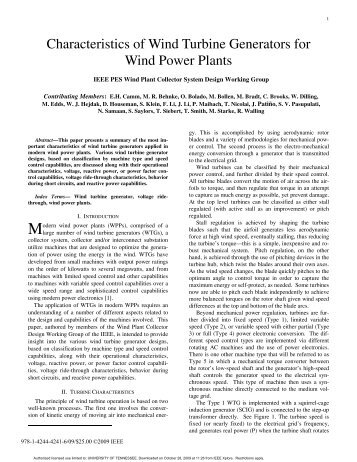 the characteristics of the wind turbine technology