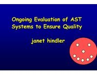 Ongoing Evaluation of AST Systems to Ensure Quality by ... - SWACM