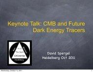 SPERGEL, David: Keynote Talk - The Dark Universe
