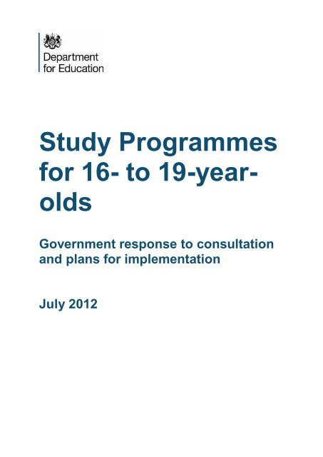 Study Programmes for 16- to 19-year- olds - Digital Education ...