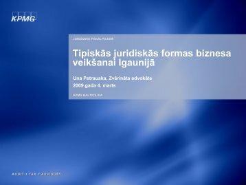 Tipiskās juridiskās formas biznesa veikšanai Igaunijā - LIAA