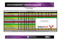 Timetable - MotorSport Vision Racing