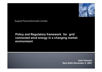 Policy and Regulatory framework for grid connected wind energy in ...