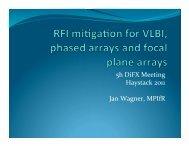 RFI mitigation for VLBI, phased and focal plane arrays - CIRA