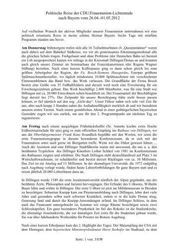 der detaillierte Bericht zur politischen Reise - CDU Ortsverband ...