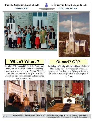 Quand? Où? When? Where? - The Old Catholic Church of BC