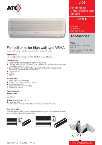 Fan coil units for high wall type VEMA - Air Trade Centre
