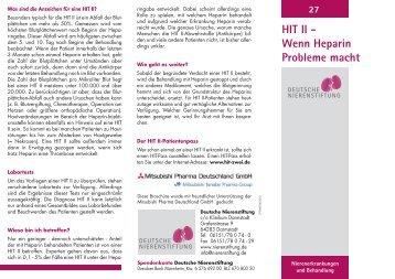 HIT II - Wenn Heparin Probleme macht 27 - Deutsche Nierenstiftung