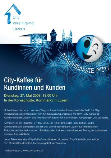 City-Kaffee für Kundinnen und Kunden - City Vereinigung Luzern