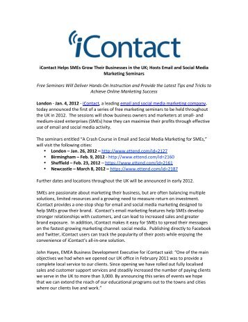 iContact Helps SMEs Grow Their Businesses in the UK; Hosts Email ...