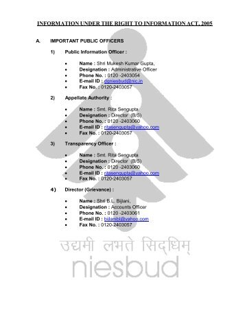 information under the right to information act, 2005 - niesbud