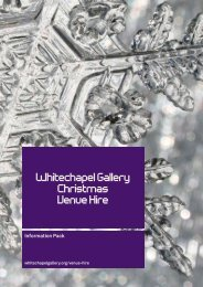 Whitechapel Gallery Christmas Venue Hire Information Pack