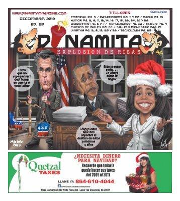 DICIEMBRE, 2012 Ed. 29 Titulares - Dinamita Magazine