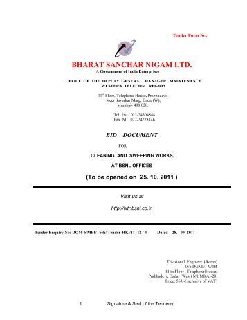 BHARAT SANCHAR NIGAM LTD. - WTR - BSNL