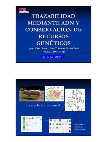 trazabilidad mediante adn y conservación de recursos genéticos