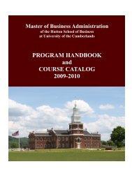 2009-2010 University of the Cumberlands MBA Catalog