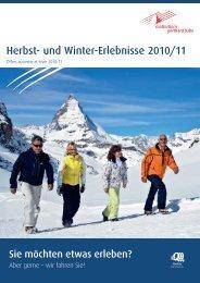Herbst- und Winter-Erlebnisse 2010/11 - Matterhorn Gotthard Bahn