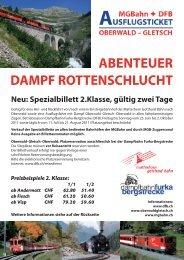 dampf rottenschlucht abenteuer - Matterhorn Gotthard Bahn