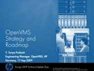 HP OpenVMS Strategy and Roadmap