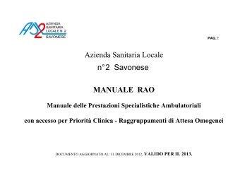 Manuale delle Prestazioni Specialistiche Ambulatoriali con accesso ...