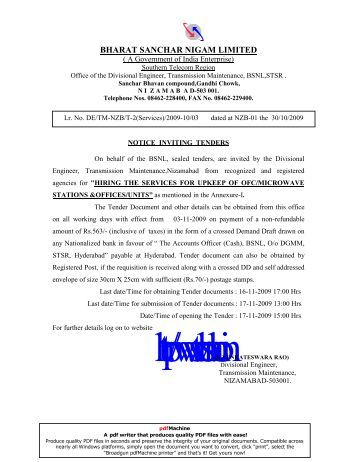 bharat sanchar nigam limited - Southern Telecom Region - BSNL
