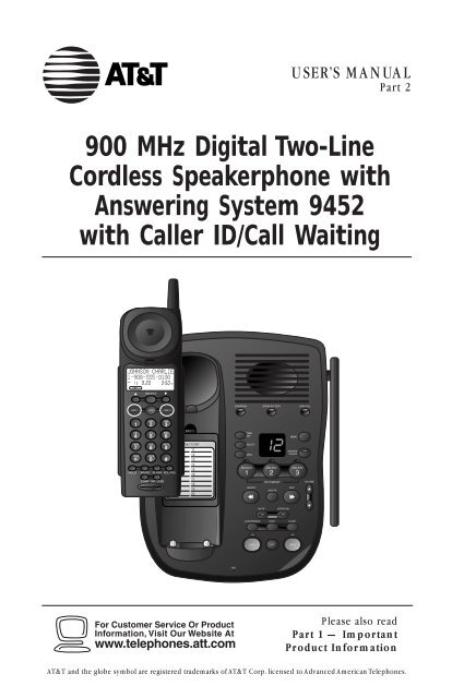 ATT 9452 2 Line 900 MHz Digital Cordless Phone With Caller ID