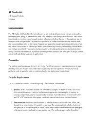 AP Studio Art: Portfolio Requirements - Lee Academy