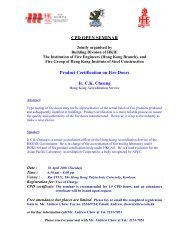 Product Certification on Fire Doors - The Hong Kong Institute of ...