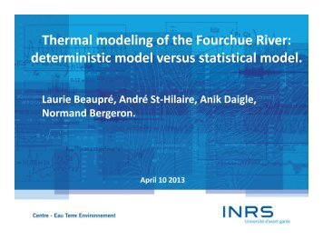 Thermal modeling of the Fourchue River - NSERC HydroNet Network
