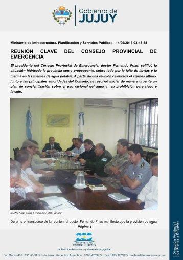 REUNIÓN CLAVE DEL CONSEJO PROVINCIAL DE EMERGENCIA